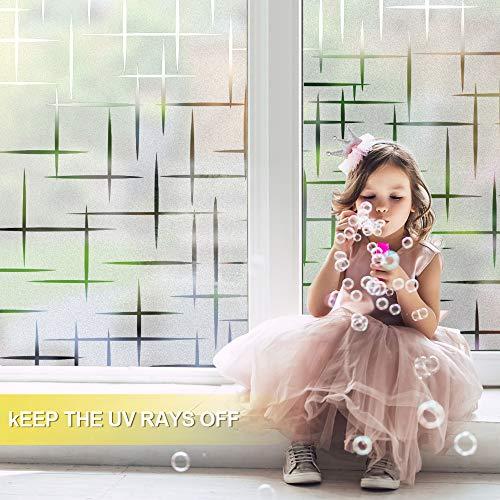 511In9sEmwL - Rabbitgoo Vinilo para Ventana Pegatina Blanca Privacidad Raya Película Vinilos Adhesivos para Cristales Vidrios 44.5cmx200cm