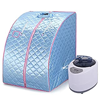 WeFun Home Sauna Steam,1200W 220V Portable Sauna Cabin Steam Full Body Fumigation (Blue)