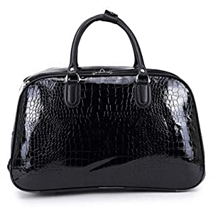 Haute For Diva's Unisex Mock Croc Print Faux Patent Leather Travel Holdall Luggage Bag Handle Wheeled Suitcase