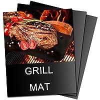 ALAIX BBQ Grill Mat, 100% anti-aderente, facile da pulire, riutilizzabili, perfetta per la cottura in forno e per il Barbecue, nero, 2 Pack, 15.75
