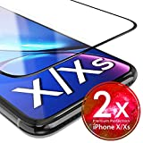 UTECTION 2X Full Screen Schutzglas 3D für iPhone X/XS - Perfekte Anbringung Dank Rahmen - Premium Displayschutz 9H Glas - Kompletter Schutz Vorne - Folie Schutzfolie Schutzglasfolie Ultra Clear