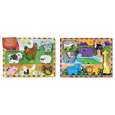 Melissa & Doug Farm Chunky Puzzle & Safari Chunky Puzzle Bundle