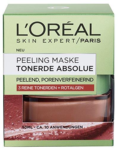 L\'Oreal Paris Tonerde Absolue Rote Peeling Maske, mit Rotalgen, reinigt intensiv, verfeinert Poren und glättet den Teint, 50 ml