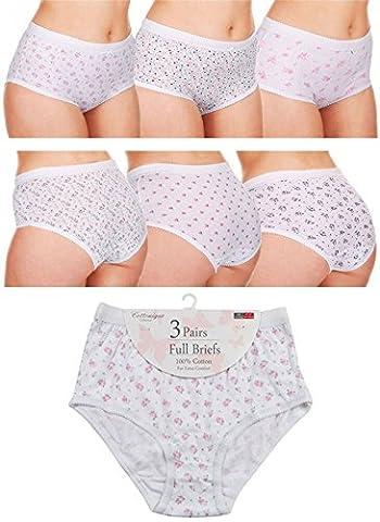 Ladies 6 pair pack 100% Cotton Full Briefs by Cottonique Floral WMS (36-38)