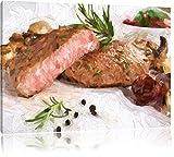 klassisches Steak medium auf Leinwand, XXL riesige Bilder fertig gerahmt mit Keilrahmen, Kunstdruck auf Wandbild mit Rahmen, günstiger als Gemälde oder Ölbild, kein Poster oder Plakat, Format:120x80 cm