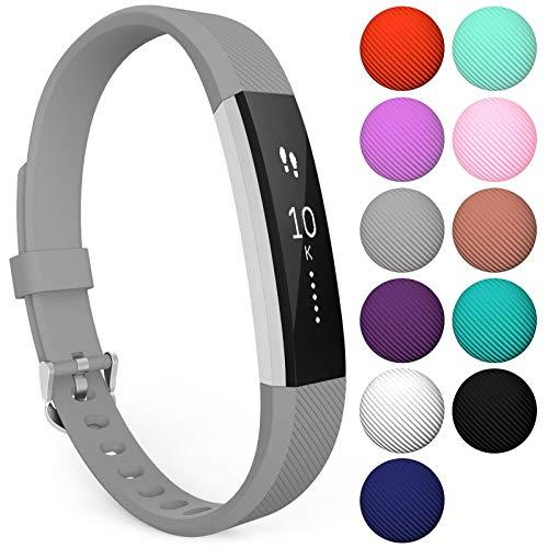 Yousave Accessories® Armband kompatibel für Fitbit Alta und Alta HR, Ersatzarmband – Silikon Wristband Zubehör für Alta und Alta HR – Erhältlich in 11 (Klein, Grau)