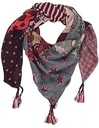 Neu XXL Elegant Schal Tuch Animal Print seitlich rot grüner Streifen Leo Leopard