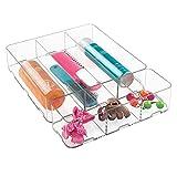 mDesign Organizzatore Cassetti Interbloccante per Trucco, Accessori per Capelli, Articoli da Cucina, Forniture Ufficio/Scrivania - Set da 2 Pezzi, Trasparente