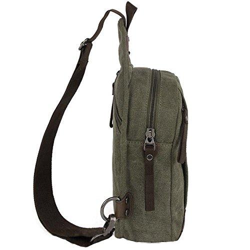 Gendi tela sling zaino, petto in spalla crossbody escursionismo zaino sport bicicletta lo zaino di borsa borsa di scuola uomini donne ragazzo - ragazza teenager (Blu) Grigio verde