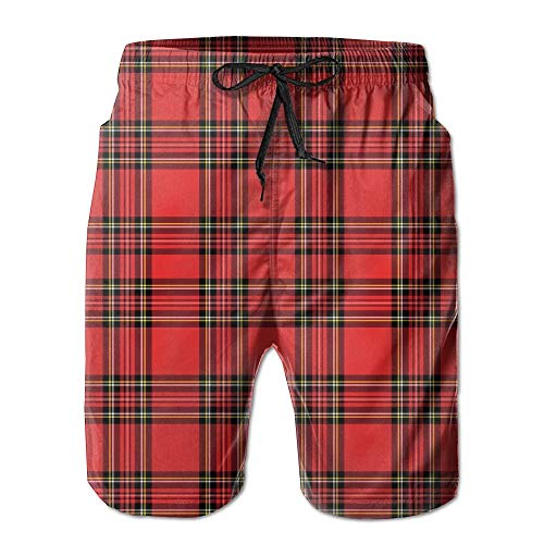 KAKICSA Red and Black Plaid Pattern Scottish Striped Tartan Traditional (2) Summer Quick Dry Board/Beach Shorts for Men,Size:L Scottish Lace