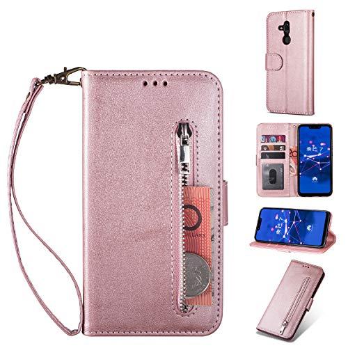 Yobby Reißverschluss Brieftasche Hülle für Huawei Mate 20 Lite,Vintage PU Leder Handyhülle Flipcase mit Kartenfach und Handschlaufe,Ständer Stoßfeste Schutzhülle für Huawei Mate 20 Lite-Rose Gold -