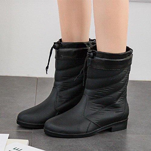 Mme la mode des bottes de pluie chaude Black