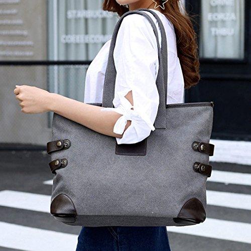 Leinwand Damen Breathable Freizeit Große Kapazität Wearable Einzelne Schulterbeutel Grey
