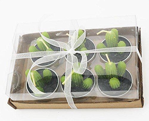 6 lámparas Westeng con forma de cactus verdes artificiales para cumpleaños, boda, decoración del hogar, 4,2x 4cm Cactus verde