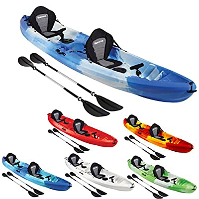 Bluewave Double +1 Sit On Top Fishing Kayak | With 4 Rod Holders, 2 Storage Hatches, 2 Padded Seat & 2 Paddles by Bluewave Leisure