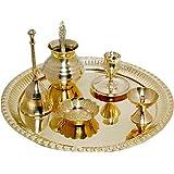 Ma Design Hut Brass Pooja Thali Set Brass , Set Of 7