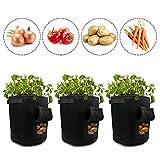 Izoel de pommes de terre 3-pack pour sac de croissance Pots de feutre Pots de fleurs, Némo Velcro Rabat à accès pour pommes de terre Carotte Légumes Container Tub