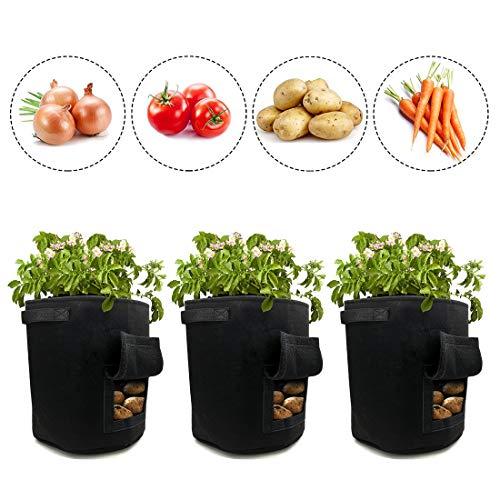 iZoeL Potato Pflanzbeutel 3Stk 10 Gallonen Pflanzensack Gemüsezuchtbeutel Pflanzsack aus Vliesstoff