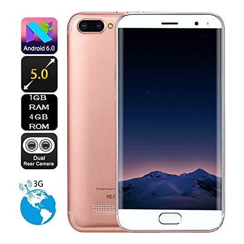 TianranRT 5,0 Zoll Dual HD Kamera Smartphone Android 6.0 1G + 4G GPS 3G Anruf Handy (Roségold)