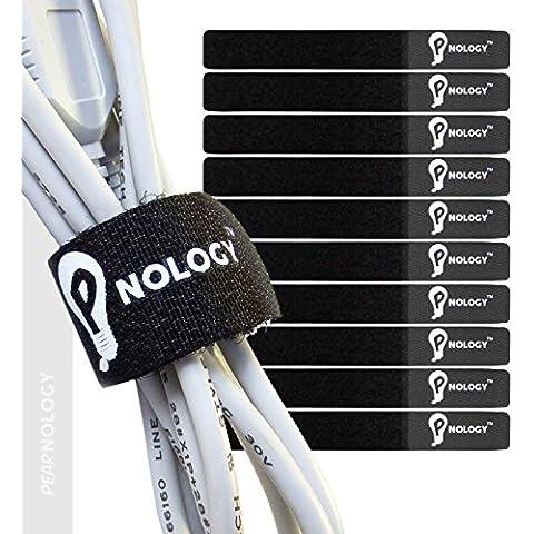 Pearnology-Fascette fermacavo riutilizzabili, ✮ Organizzatori Cavi ✮ ✮ impugnatura regolabile, Super resistente, durevole velcro ✮ ✮ Nero 160 x 20 mm, confezione da 20 pz