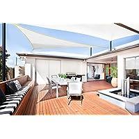 SUNLAX Vela de sombra triangular 5 x 5 x 5 metros, toldo resistente e impermeable, para exteriores, jardín, Color Crema