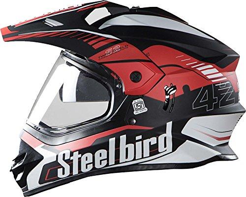 STEELBIRD SB-42 AIRBORNE MOTOCROSS HELMET MATT FINISH WITH PLAIN VISOR (LARGE 600 MM, MATT BLACK WITH RED)