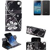 K-S-Trade Schutzhülle für Jiayu S3 Advanced Hülle 360° Wallet Case Schutz Hülle ''Flowers'' Smartphone Flip Cover Flipstyle Tasche Handyhülle schwarz-weiß 1x
