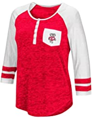 """Wisconsin Badgers NCAA Women's """"Inconceivable"""" 3/4 Sleeve Henley Shirt Chemise"""