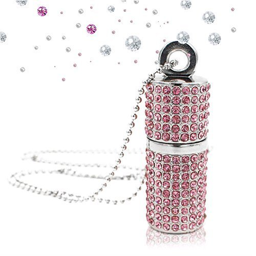 techkey USB Flash Drive, Bling Strass Diamant Kristall Glitzer Lippenstift Fall Shining Jewelry Halskette, Silber/Pink/Blau Sakura Pink 64 GB