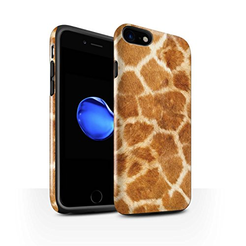 STUFF4 Glanz Harten Stoßfest Hülle / Case für Apple iPhone 8 / Lila Muster / Giraffe Tier Haut/Print Kollektion Orange