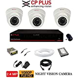 CP Plus 2.4 MP HD CCTV Camera, 4 Ch. HD DVR, 3 Dome Camera, 500 GB Hard Disk, 4 CH Power Supply, 90 Mtr Wire Bundle, BNC And DC Connectors (2 Year Warranty)