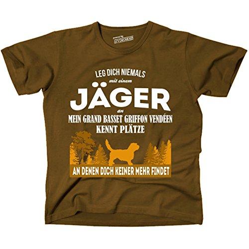 Siviwonder Unisex T-Shirt JÄGER GRAND BASSET GRIFFON VENDEEN Hund kennt Plätze niemand findet BROWN Brown