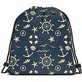 fjfjfdjk Nautical Miscellaneous Drawstring Backpack Gym Sack Lightweight Bag Water Resistant Gym...