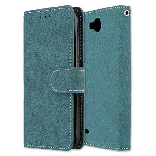 LG X Power 2 Hülle, Chreey Matt Leder Tasche Retro Handyhülle Magnet Flip Case mit Kartenfach Geldbörse Schutzhülle Etui [Blau]