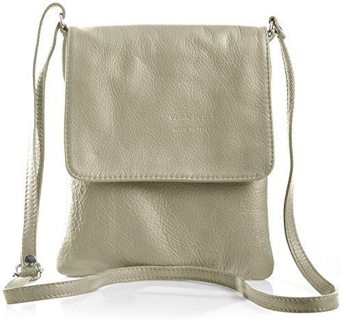 BHBS Kleine Damen Cross-Body-Tasche Mit Echtem Weichem Leder 18 x 23 cm (B x H) hell Beige