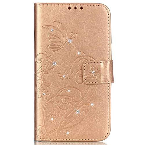 Surakey Cover Samsung Galaxy Ace 4 G313H Pelle, Custodia Flip a Libro per Samsung Galaxy Ace 4 G313H Glitter Strass Brillante Farfalla Portafoglio Magnetica Cover con Porta Carte e Funzione Stand,Oro