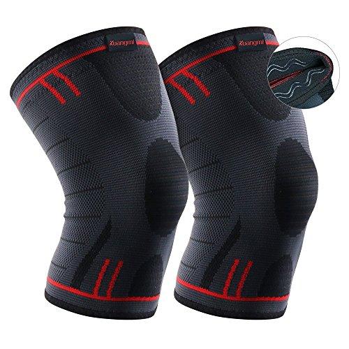 Kuangmi Kniebandage Kompression 3 Versionen für Vorbeugung von Sportverletzungen 2 Stück Advenced XL