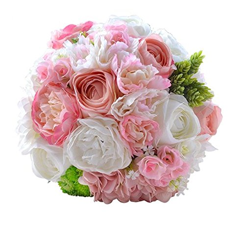 Pavian lifelike silk peony pink ivory wedding flower toss bouquets Brooch hangs for bridal