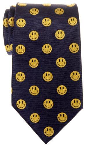 Retreez Herren Smiley-Krawatte, gewebte Mikrofaser–verschiedene Farben Gr. Einheitsgröße, marineblau