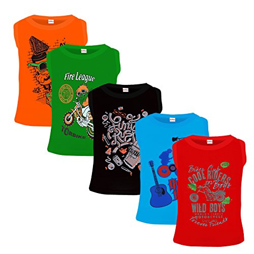 Kiddeo Kids Sleeveless T shirts for boys (Pack of 5)...