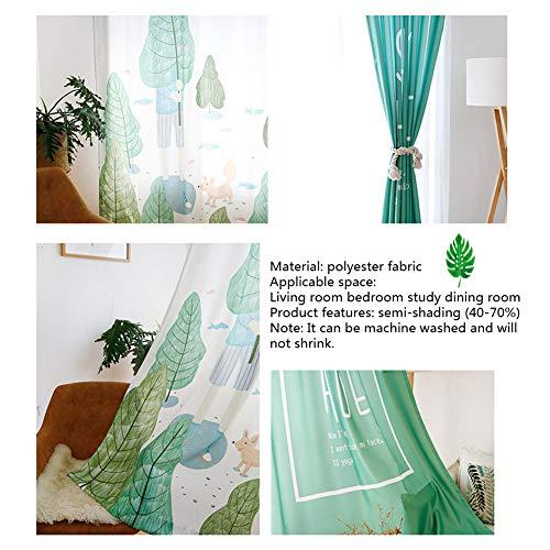 Tenda a occhiello semitrasparente tenda richiudibile 1 pannelli 1 * 2.7m pianta verde foglia nero verde piccolo animale piccola volpe,3 * 2.7m