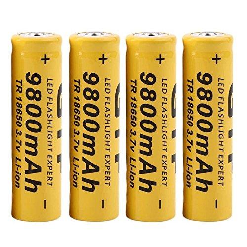 4-Stck-Wiederaufladbare-Akkus-BatterieGelb-18650-9800mAh-37v-Li-Ion-Fr-LED-Taschenlampe