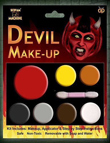 HALLOWEEN MAKE-UP MAKE-UP GESICHTSFARBE ZOMBIE VAMPIR HEXE CLOWN DEVIL FAMILIEN SET ROT WEIß SCHWARZ - Devil Multi Palette Schminke