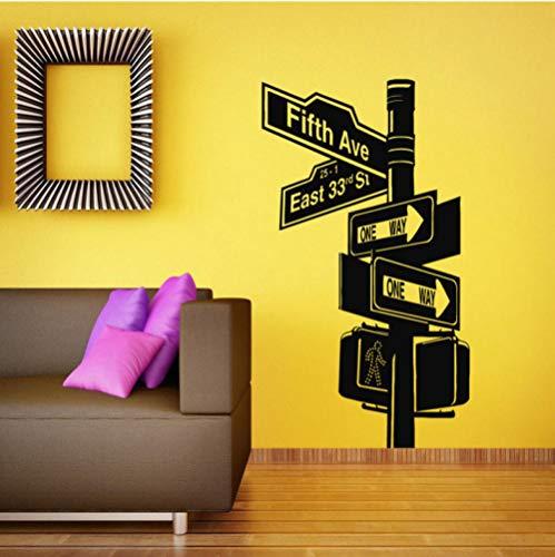 Aizaixinli Wandaufkleber Vinyl Aufkleber Raumapplikation Wandbild Design Verkehrsschild Wohnzimmer Broadway 57 * 79 Cm