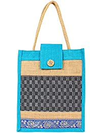Styles Creation Women's Sky Blue & Beige Lunch Bag/ Tiffin Bag/ Carry Bag/ Jute Bag/ Handbag (HNDBG16)