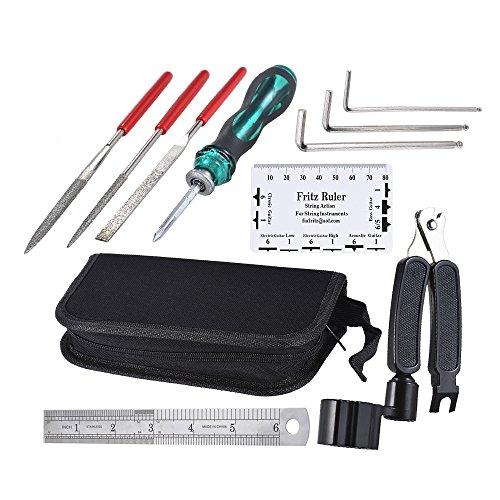ammoon Gitarre Tools Reparieren Wartung Reinigungswerkzeug Kit beinhaltet String Organizer & String Aktion Lineal & Gauge Messwerkzeug & Inbusschlüssel Set & Dateien für Gitarre Ukulele Bass Mandoline (Kit Wartung)