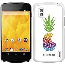 """Funda carcasa para LG Nexus 4 diseño ilustración piña de colores """"piNeapple"""" borde blanco"""