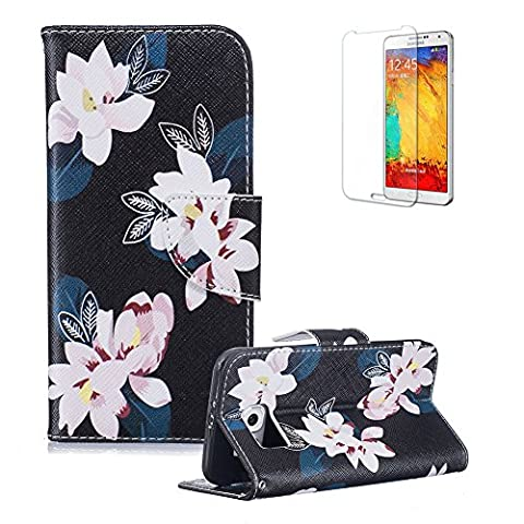 For Samsung Galaxy S6 Case [with Free Screen Protector], Funyye Good Quality Anti Dust Colourful PU Leather Magnetic Closure Wallet with [Credit Card Holder] Ultra Slim Fit Full Body Protection Flip Case Cover Skin for Samsung Galaxy S6 - White Camellia