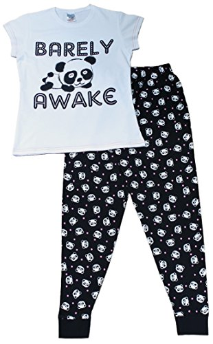 Cute Girls Barely Awake Panda Long Pyjamas Black and White Pj