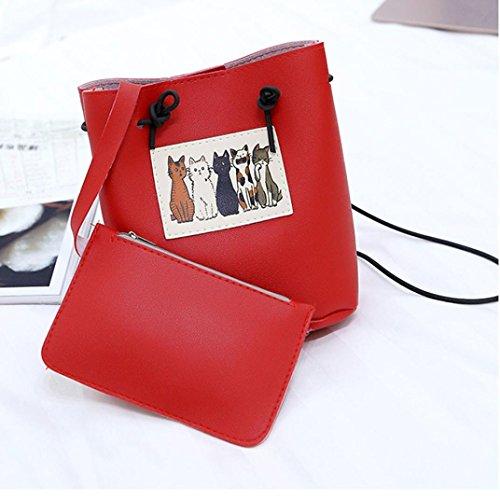 Longra Moda donna Carino gatto due pezzi di borsa a tracolla singola borsa della benna Rosso